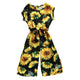 Toddler Kids Baby Girls Sunflower Printed Cotton Blend Romper Jumpsuit For Daughter