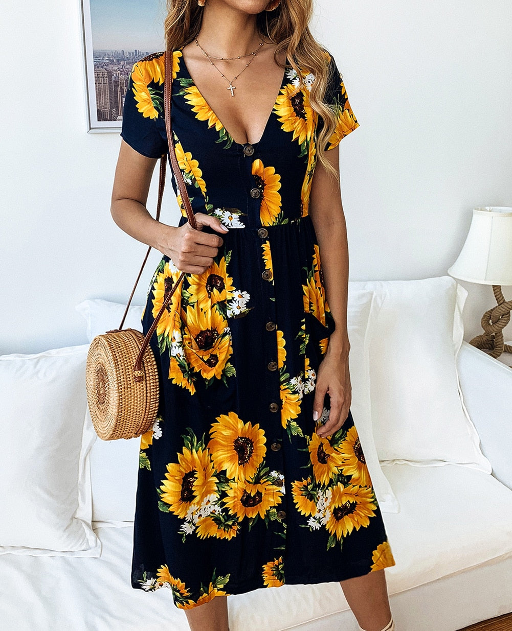 Women Summer Short Sleeve Sunflower Dress - Navy Blue