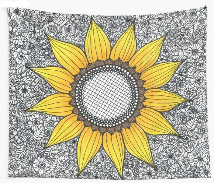 Sunflower Pattern Wall Tapestry Blanket Picnic Yoga Mat Home Decoration