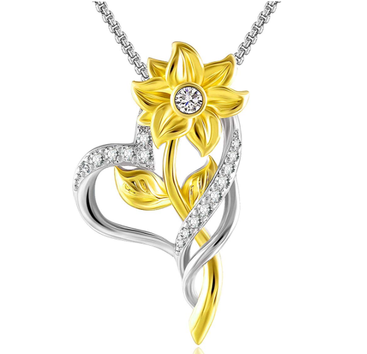Sunflower Heart Necklace S925 Sterling Silver