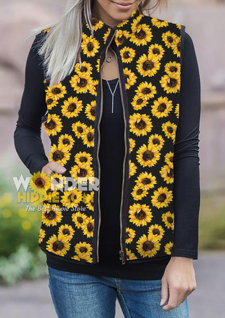 Premium Sherpa Sunflower Puff Lined Gilet Jacket for Women Girls - Wonder Hippie Official