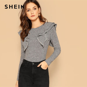 59a5fd8230 SHEIN Ruffle Trim Form Fitted Marled Stretchy Plain Tee Slim Fit T Shirt  Casual Long Sleeve Round Neck Women Plain Tshirt Tops