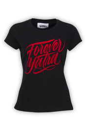CAMISETA NEGRA FOREVER YATRA RED COLOR
