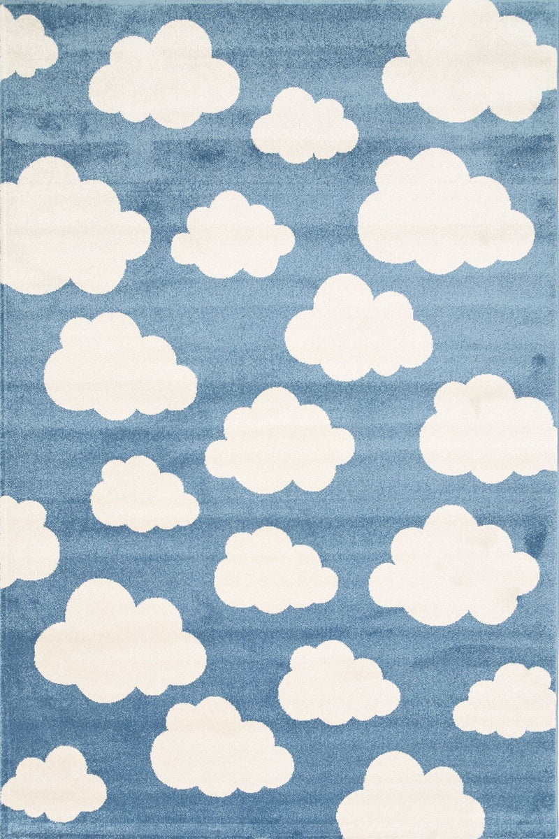 Piccolo Blue and White Cloud Kids Rug