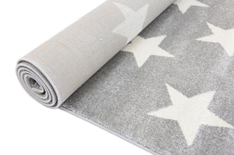Piccolo Light Grey and White Stars Kids Rug