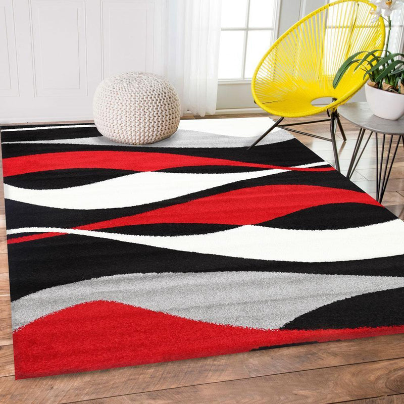 Pablo Red and Black Abstract Modern Rug