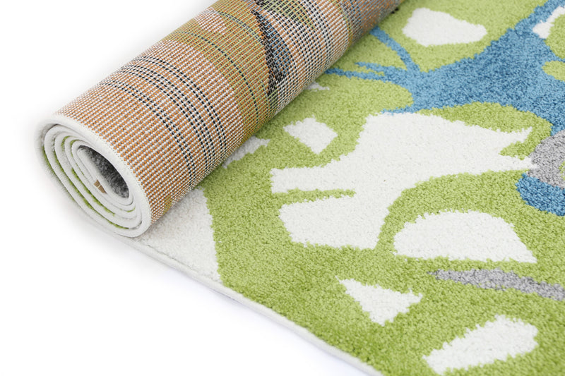 Pablo Blue and Green Abstract Floral Modern Rug