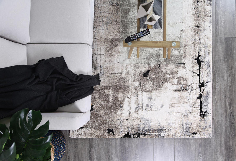 Vision Grey and Beige Abstract Rug