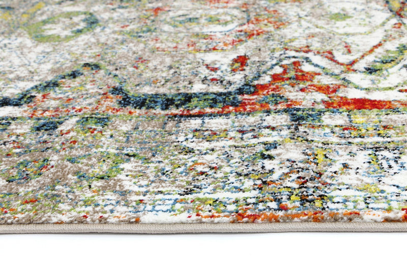 Amsterdam White Distressed Traditional Bordered Rug