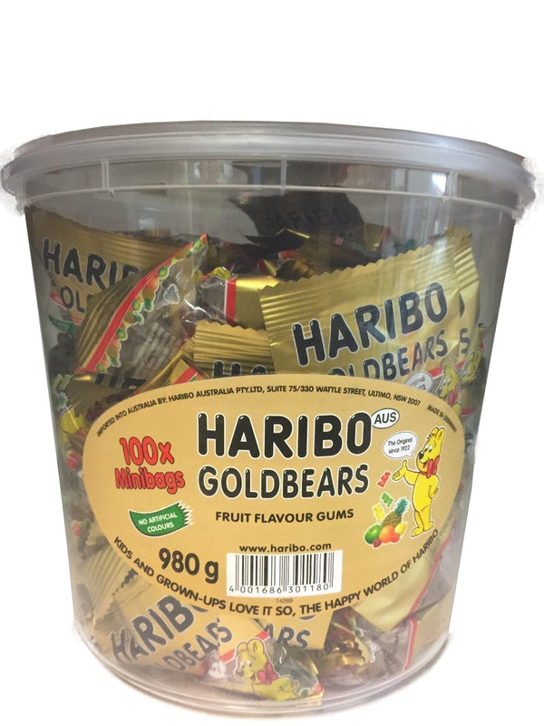 Haribo Golden Bears 100 Minibags Tub 980g