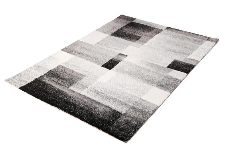 Barcelona Modern Supa Thick Grey Black Rug