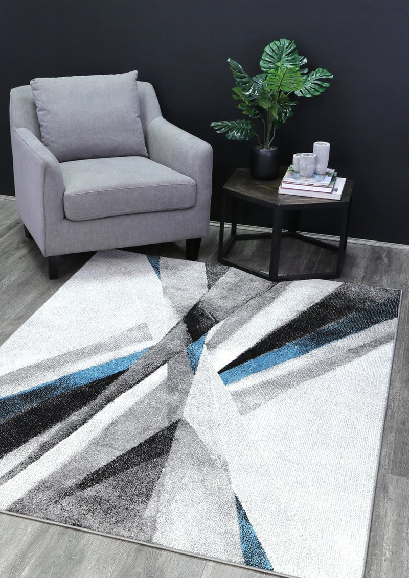 Amsterdam Blue Cross Roads Modern Abstract Rug