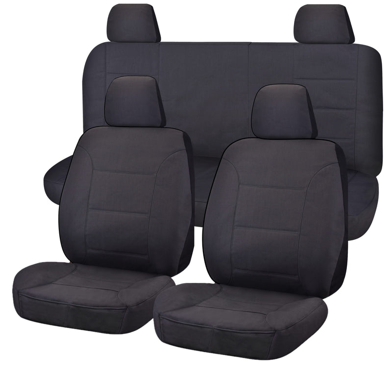 Tailor Made Challenger II Seat Covers for NISSAN NAVARA  D40 SERIES 01/2006-02/2015 DUAL CAB UTILITY CHARCOAL