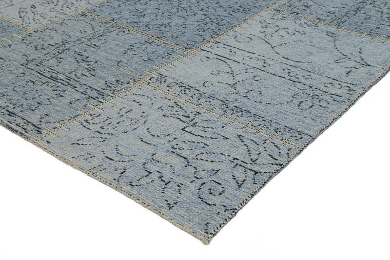 Bohemian Blue Patchwork Distressed Rug