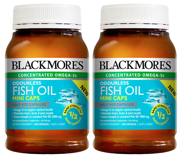 BLACKMORES ODOURLESS FISH OIL MINI 2 x 400 CAPSULES