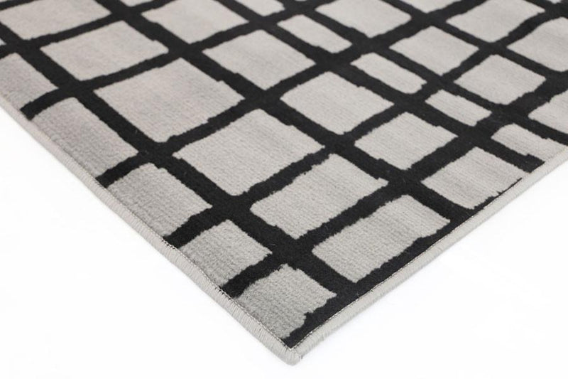 Gerald Grey and Black Abstract Grid Rug