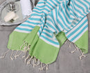 Shopstraya Neon Turkish Towel - Lime & Turquoise Striped