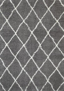 Moroccan Grey and Cream Diamond Rug