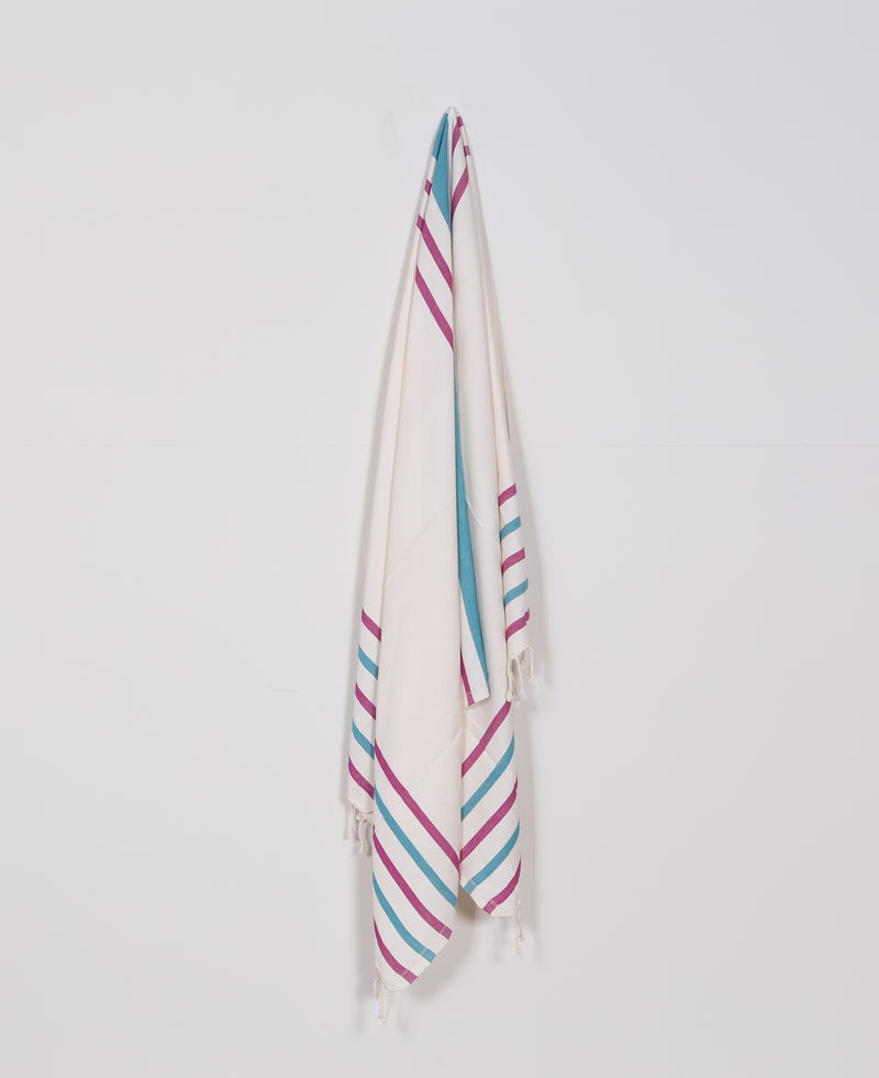 Turkish Towel, Peshtemal, Beach Towel, 100% Luxury Cotton Cherry & Light Blue Striped