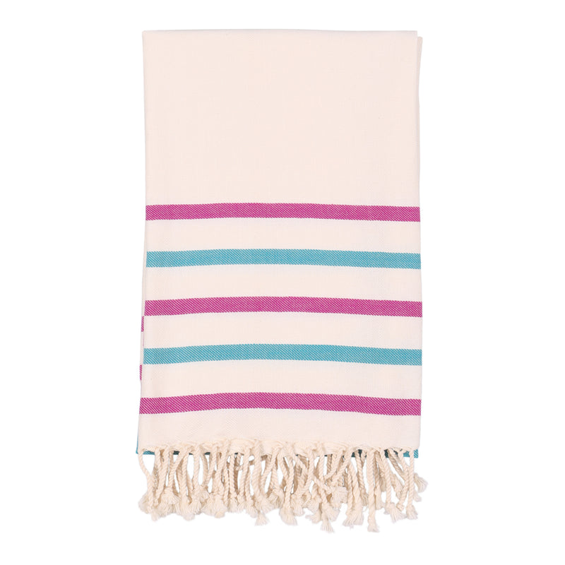 Shopstraya Turkish Towel - Cherry & Light Blue Striped
