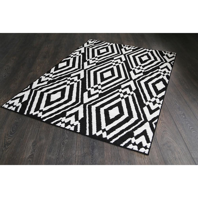 Argos Black and White Geometric Ikat Rug