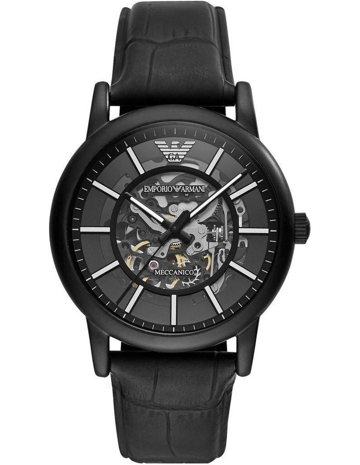 Emporio Armani Meccanico Automatic Skeletal Black Leather Men's Watch AR60008