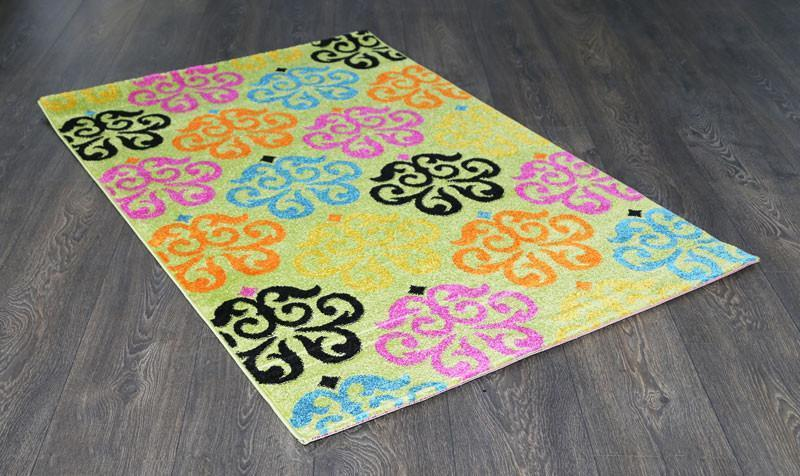 Phenom Multi-Coloured Green Floral Abstract Ikat Rug