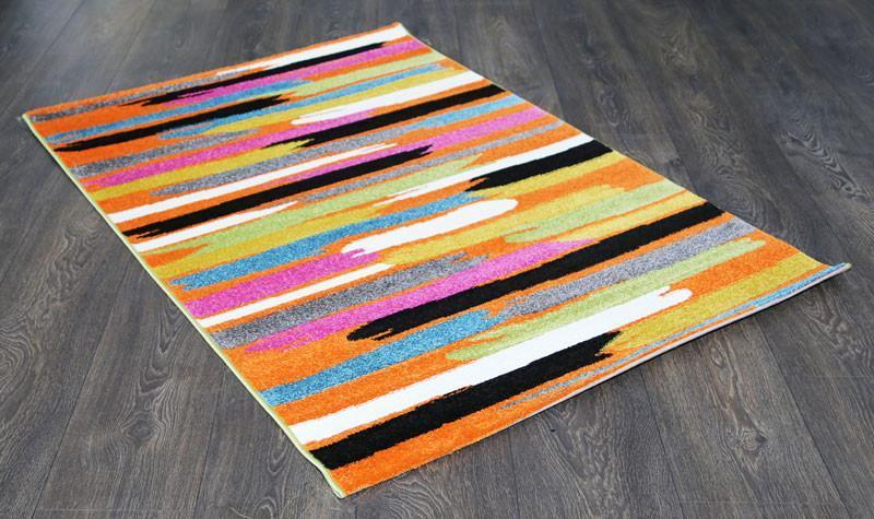 Phenom Multi-Coloured Orange Abstract Paint Rug