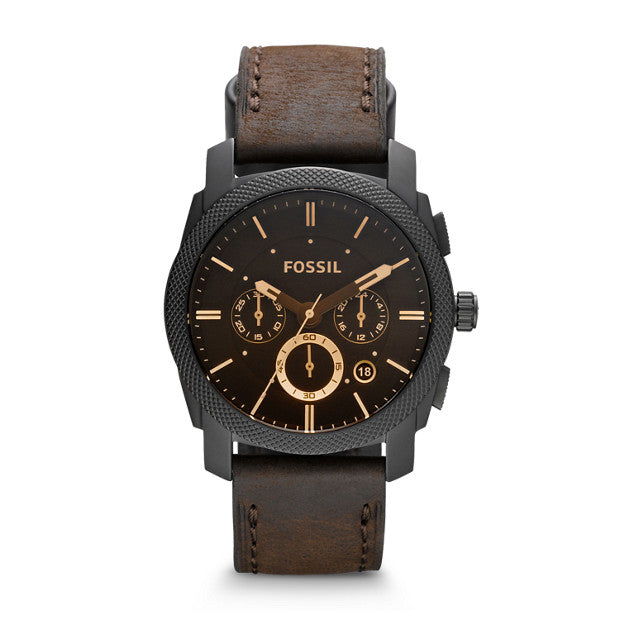 Fossil Machine Mid-Size Chronograph Brown Leather Watch FS4656P