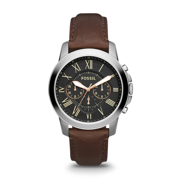Fossil Men's Brown Leather Band Grant Watch 44mm FS4813