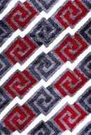 Soleil Red and Grey Geometric Ikat Shag Rug