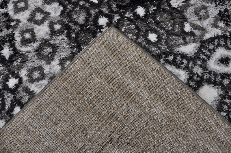 Dakar Grey Abstract Bordered Shag Rug