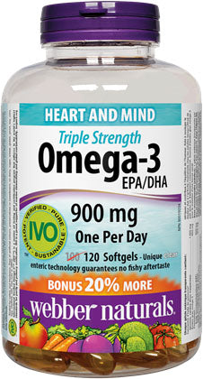 Webber Naturals Triple Strength Fish Oil 120 Count 900 mg EPA/DHA