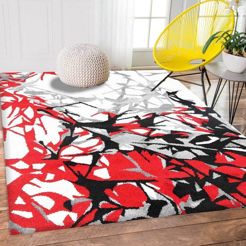 Pablo Red and Cream Abstract Floral Modern Rug