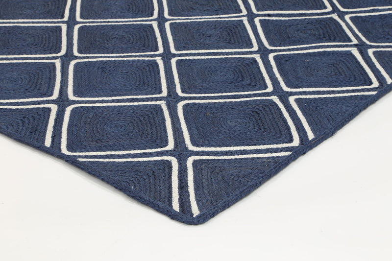 Artisan Navy Blue Natural Parquetry Rug