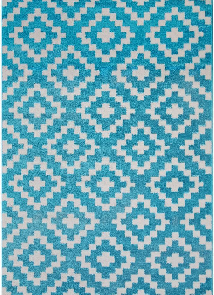 Monarch Blue and White Geometrical Ikat Shape Patterned Rug