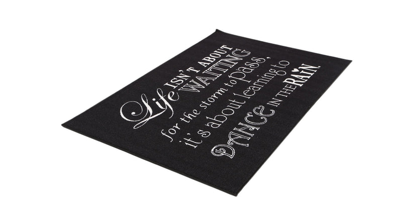 Echo Black and White Quote Rug