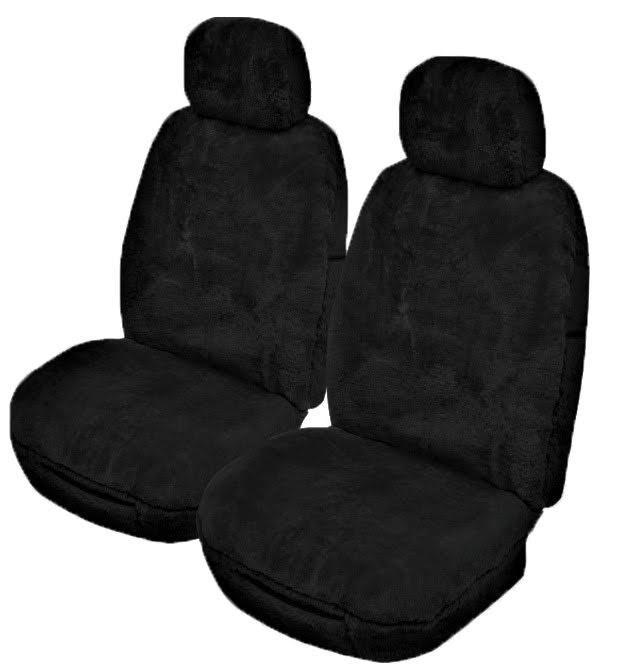 Universal Alpine 25mm Thick Pile Sheepskin Front Seat Covers Size 30/35 - Black