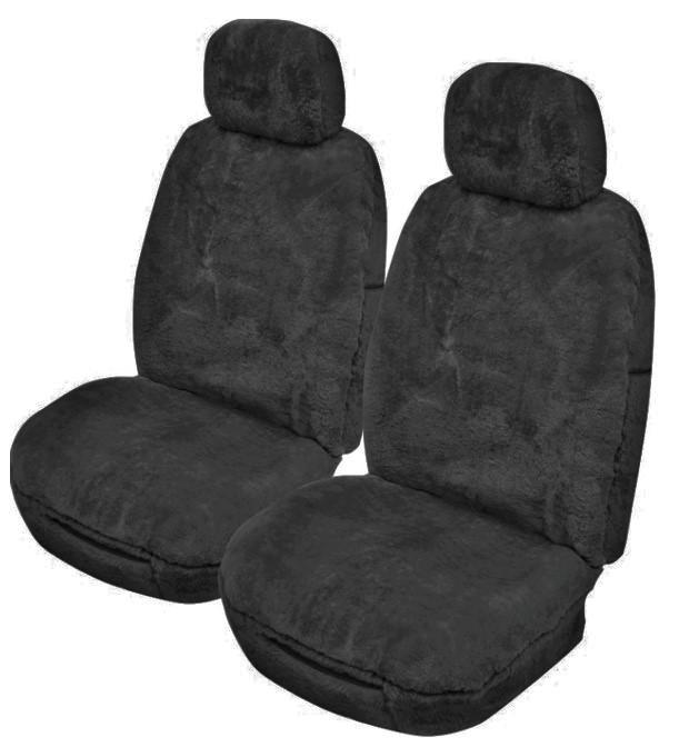 Universal Merinos 25mm Thick Pile Sheepskin Front Seat Covers Size 30/35 - Charcoal
