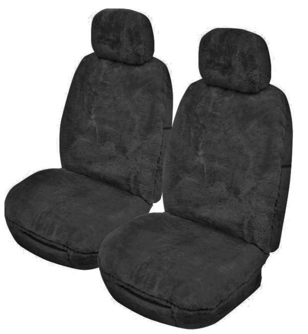 Universal Softfleece 20mm Thick Pile Sheepskin Front Seat Covers Size 30/35 - Charcoal