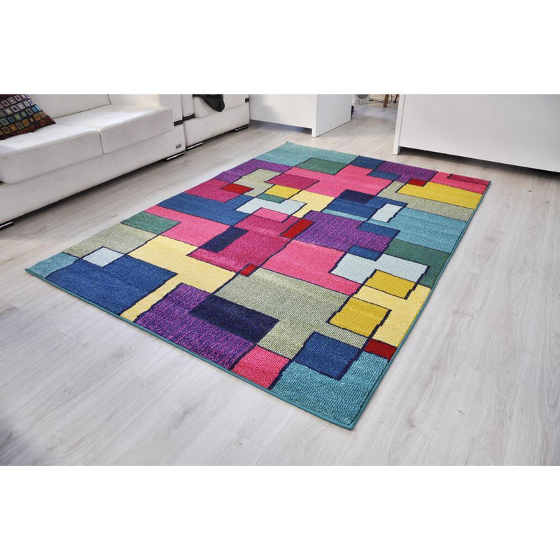 Spirit Blue and Multi Colour Abstract Rug