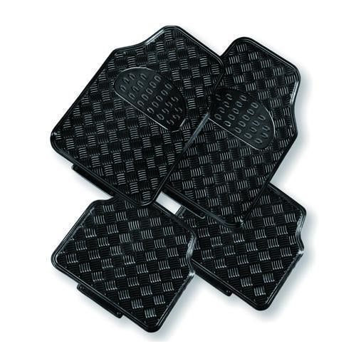 VENOM 4-Piece Car Mat - BLACK [Rubber/Aluminium Look]