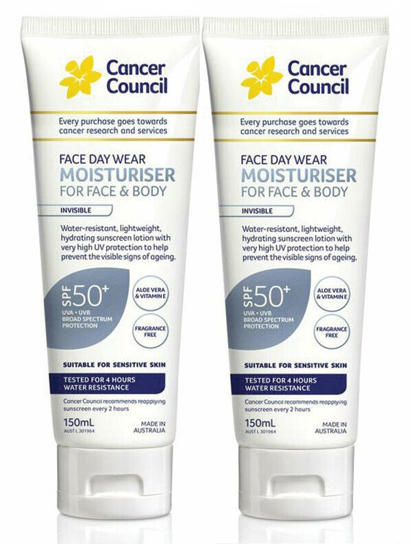 Cancer Council Day Wear Water Resistant Spf 50+ 2x150ml