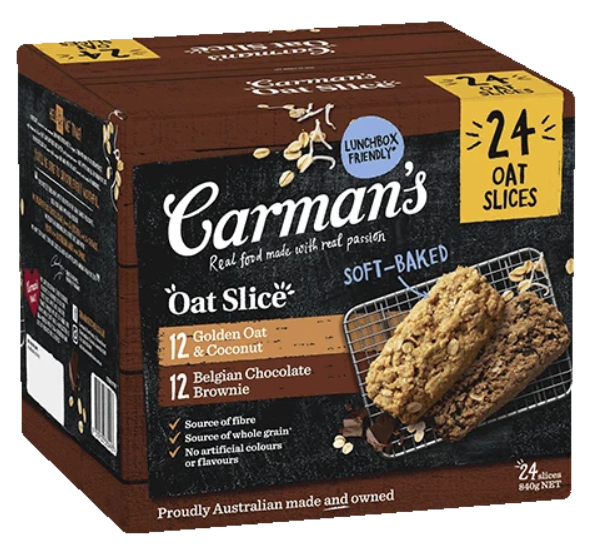 Carmans Oat Slice Variety Pack Golden Oat & Coconut And Belgian Chocolate Brownie 24 Slices