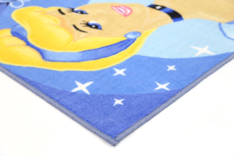 Non Slip Blue Kids Disney Princess Cinderella Area Rug Baby Play Mat
