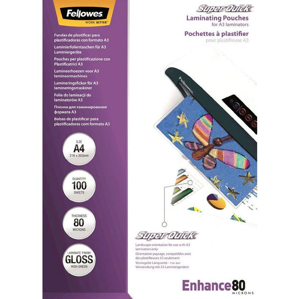 Fellowes A4 80 Micron SuperQuick Laminating Pouches 100 Pack