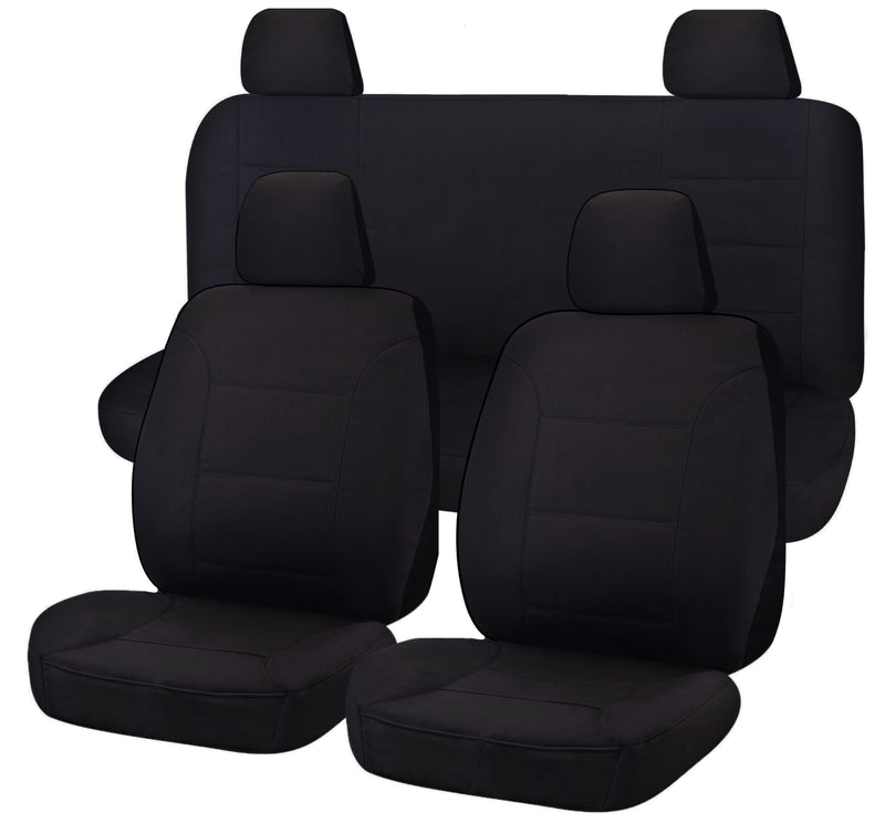 Tailor Made Challenger II Seat Covers for NISSAN NAVARA D23 SERIES 3-4 NP300 11/2017-ON DUAL CAB UTILITY BLACK