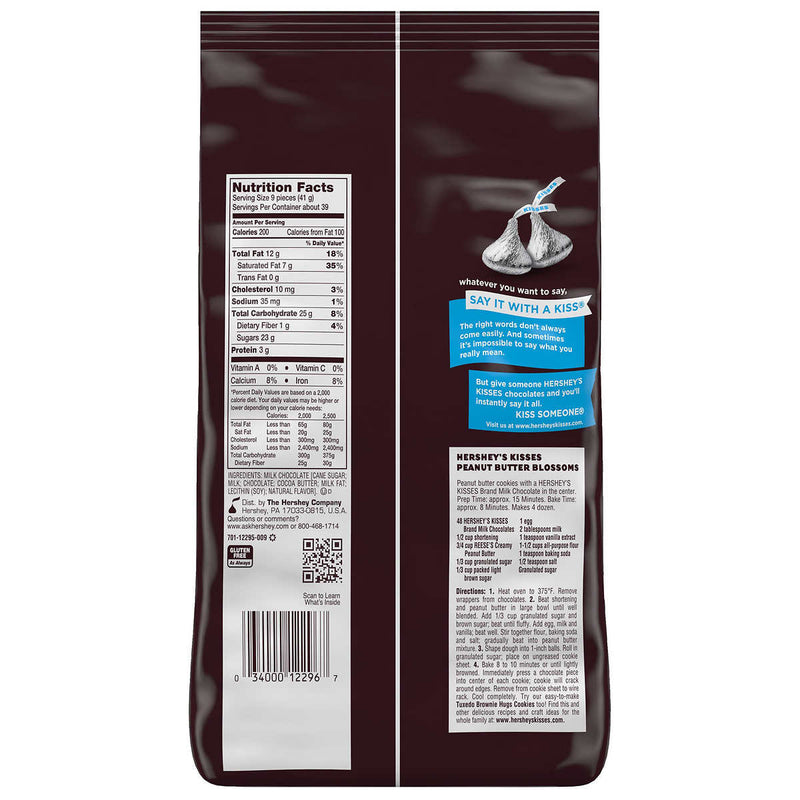 Hershey's Kisses Milk Chocolate, 1.58kg