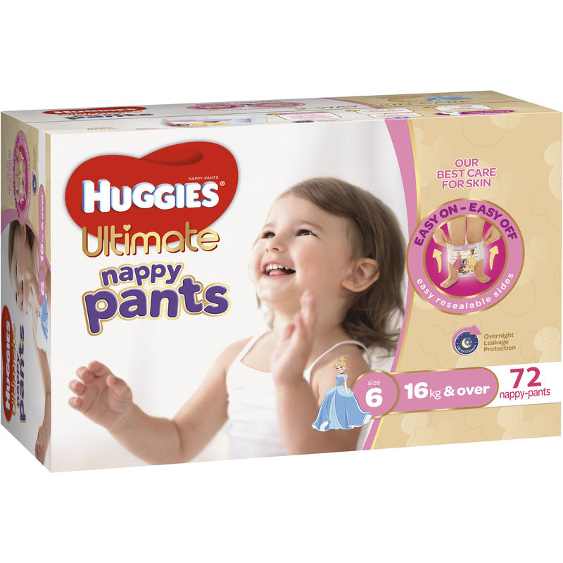 Huggies Ultimate Nappy Pants Junior Girl 72ct (16kg & over)