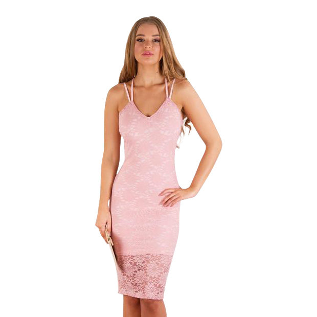 Floral Lace Double Strap Body-con In Deep Silver In Blush